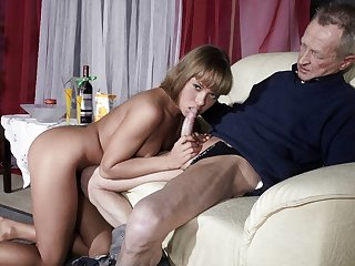Very Old Man Fucks Very Youthfull Gal And Cums On Her Tongue