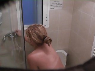 blonde teen in shower