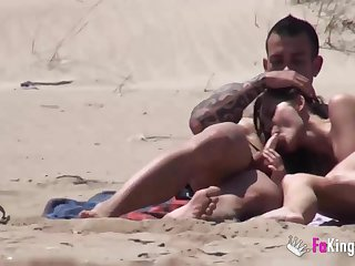 Beach Dogging! Ainara fucks a spycam and a couple joins them