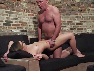 Elderly and Young Porn - Grandpa Fucks Teen Pussy fingers her