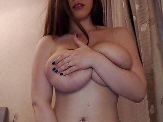 slim busty nerdy female plays with her big boobs and pussy
