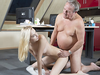 Young Old porn Martha gives grandfather a sloppy blowjob